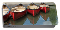 Red Canoes Portable Battery Charger by Marcia Socolik