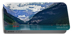 Red Canoes Turquoise Water Portable Battery Charger by Linda Bianic