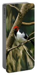 Red-capped Cardinal Portable Battery Charger by Adam Olsen