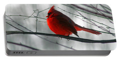 Red Cardinal On Winter Branch  Portable Battery Charger