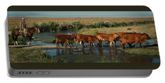 Red Cattle Portable Battery Charger by Diane Bohna