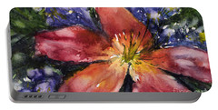Red Daylily Portable Battery Charger by Judith Levins