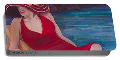 Red Dress Reclining Portable Battery Charger