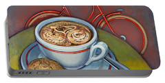 Red Dutch Bicycle With Cappuccino And Amaretti Portable Battery Charger by Mark Jones