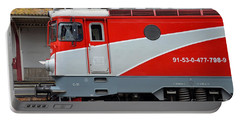 Portable Battery Charger featuring the photograph Red Electric Train Locomotive Bucharest Romania by Imran Ahmed
