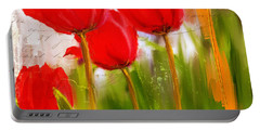Red Enigma- Red Tulips Paintings Portable Battery Charger by Lourry Legarde