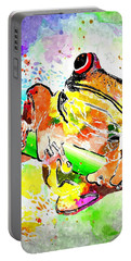 Red Eyed Tree Frog Grunge Portable Battery Charger by Daniel Janda