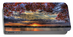 Good Bye Until Tomorrow Fall Leaves Sunset Lake Oconee Georgia Portable Battery Charger