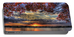 Portable Battery Charger featuring the photograph Good Bye Till Tomorrow Fall Leaves Sunset Lake Oconee Georgia by Reid Callaway