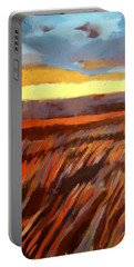 Portable Battery Charger featuring the painting Red Field by Helena Wierzbicki