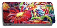 Red Floral Mishmash Portable Battery Charger by Kathy Braud