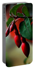 Red Flower Buds Portable Battery Charger by Pamela Walton