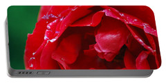 Portable Battery Charger featuring the photograph Red Flower Wet by Matt Harang