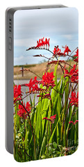 Red Flowers Crocosmia Lucifer Montbretia Plant Art Prints Portable Battery Charger