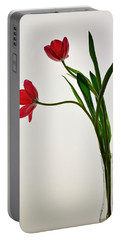 Red Flowers In Glass Vase Portable Battery Charger