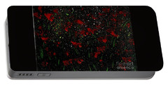 Portable Battery Charger featuring the painting Red Flowers In Twilight  by Becky Lupe
