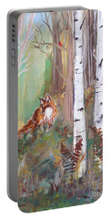 Red Fox And Cardinals Portable Battery Charger