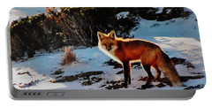 Red Fox In Winter Portable Battery Charger by Diane Alexander