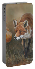 Red Fox With Pumpkins Portable Battery Charger