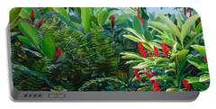 Tropical Jungle Landscape - Red Garden Hawaiian Torch Ginger Wall Art Portable Battery Charger