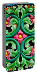 Red Green And Blue Floral Design Singapore Portable Battery Charger