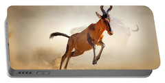 Red Hartebeest Running In Dust Portable Battery Charger