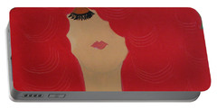 Red Head Portable Battery Charger by Anita Lewis