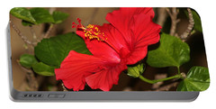 Red Hibiscus Flower Portable Battery Charger by Cynthia Guinn