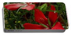 Red Hibiscus Blooms Portable Battery Charger