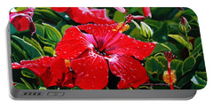 Portable Battery Charger featuring the painting Red Hibiscus by Marionette Taboniar