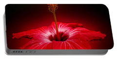 Red Hibiscus Tropical Flower Wall Art Portable Battery Charger