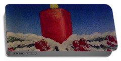 Red Holiday Candle Portable Battery Charger by Darren Robinson