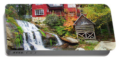 Red House By The Waterfall Portable Battery Charger