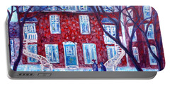 Red House In Montreal - Cityscape Portable Battery Charger