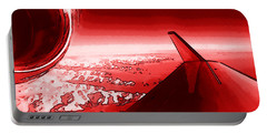 Portable Battery Charger featuring the photograph Red Jet Pop Art Plane by R Muirhead Art