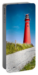 Red Lighthouse And Deep Blue Sky. Portable Battery Charger