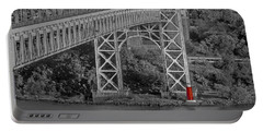 Red Lighthouse And Great Gray Bridge Bw Portable Battery Charger