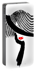 Portable Battery Charger featuring the painting Red Lips by Rafael Salazar