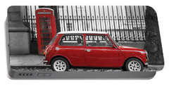 Red Mini Cooper In London Portable Battery Charger
