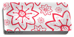 Red Poinsettia Pattern Portable Battery Charger