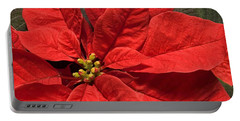 Red Poinsettia Plant For Christmas Portable Battery Charger