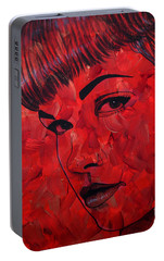 Portable Battery Charger featuring the painting Red Pop Bettie by Malinda Prudhomme