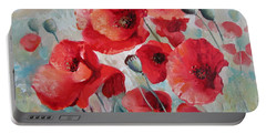 Portable Battery Charger featuring the painting Red Poppies by Elena Oleniuc