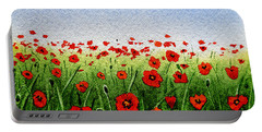 Red Poppies Green Field And A Blue Blue Sky Portable Battery Charger
