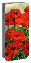 Red  Poppies In Shade Colorful Flowers Garden Art Portable Battery Charger