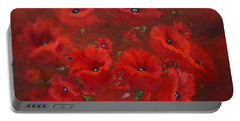 Portable Battery Charger featuring the painting Red Poppies by Jenny Lee