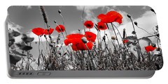 Red Poppies On Black And White Background Portable Battery Charger