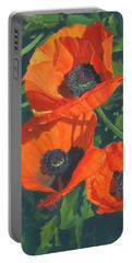 Portable Battery Charger featuring the painting Red Poppies Three by Lynne Reichhart