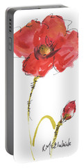 Red Poppy And Bud Portable Battery Charger