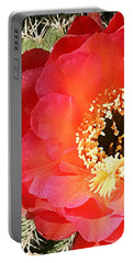 Red Prickly Pear Blossom Portable Battery Charger by Ellen Henneke